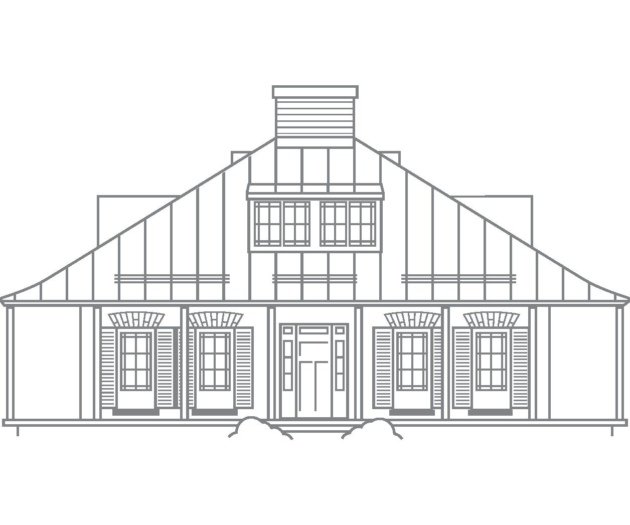 Schéma de la maison Henry-Stuart vu de la Grande-Allée à Québec